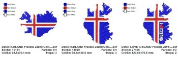 ♥ICELAND♥ Flag FLAGGE Stickmuster 1€-SPARbie