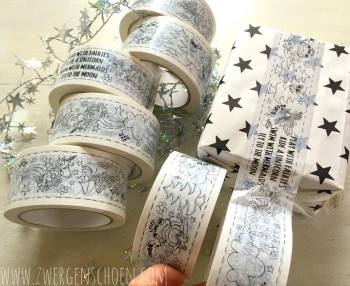 ♥SKETCHY♥ TAPE 66m BLACK on SNOW-WHITE 5cm FAIRY-TALE