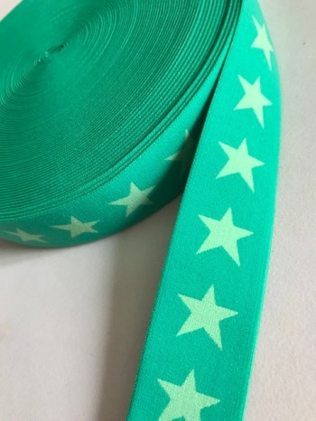 ♥SUPERSTARS♥ Gummiband 4cm GRÜN Sterne GREEN