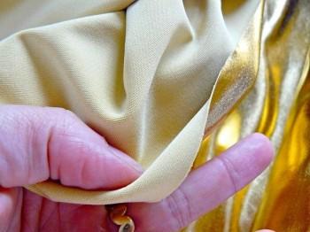 ♥GOLDMARIE♥ 0.3m Glitzer FOLIEN-JERSEY gold