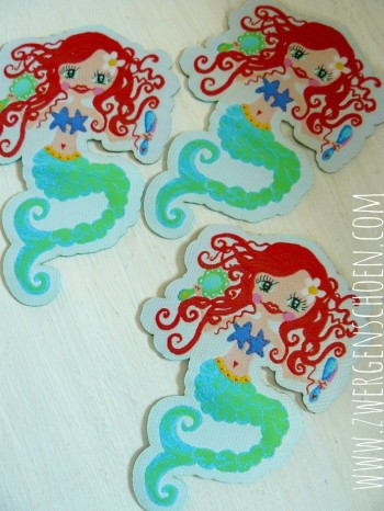 ♥WATERLILLY♥ mermaid WOVEN LABEL iron it! 10cm HIGH!!!