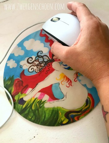 ♥MOUSEPAD♥ round MILLI in LOVE with UNICORN