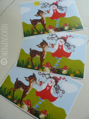 ♥MILLI in LOVE with BAMBI♥ Postkarten SET 3Stk.
