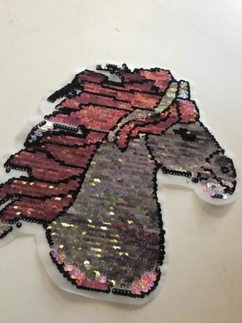 ♥PFERDEKOPF♥ Wendepailetten HORSE Aufnäher GLITZER