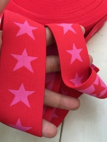 ♥SUPERSTARS♥ Gummiband 4cm ROT Sterne PINK