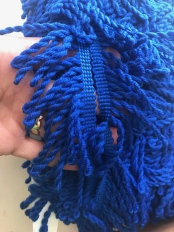 ♥FRANSENBAND♥ Wolle KOBALT blau 6.5cm BREIT
