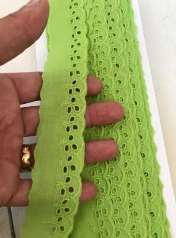 ♥WÄSCHESPITZE♥ BATIST Lingerie LIME Grün 3cm LOCHSTICKEREI Bogenkante