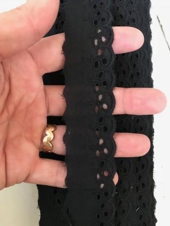 ♥WÄSCHESPITZE♥ BATIST Lingerie SCHWARZ black 3cm LOCHSTICKEREI Bogenkante