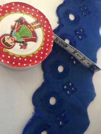 ♥WÄSCHESPITZE♥ königsblau 5cm BOGENKANTE Lochstickerei BATIST