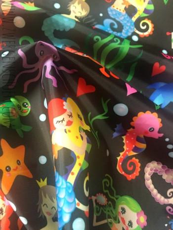 ♥WATERLILLY♥ 0.5m NYLON fabric deepSEA BLACK