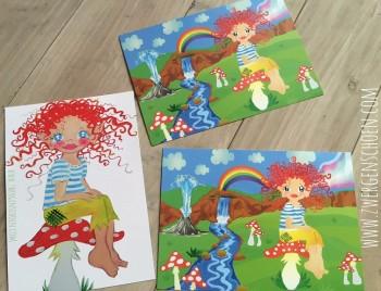 ♥HULLA TRÖLLA♥ Island TROLLMÄDCHEN Postkarten-SET XL 3Stück