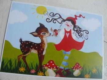 ♥MILLI in LOVE with BAMBI♥ Postkarten SET 3Stk.