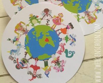 ♥ONE♥ Postkarten-SET 3Stück SONDERFORMAT rund SAVE OUR PLANET