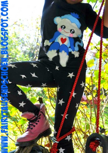 ♥SAIMIRI♥ Applique 35cm High BLUE MONKEY pattern