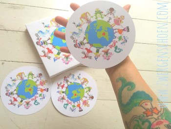 ♥ONE♥ Postkarten-SET 3Stück SONDERFORMAT rund SAVE OUR PLANET