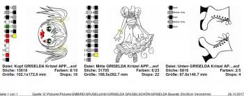 ♥GRISELDA GRUSELSCHÖN♥ Bausatz STICKMUSTER 20x30cm