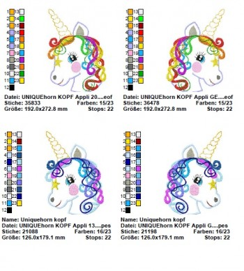 ♥UNICORN♥ Embroidery HEAD for BAGS etc. 20x30cm (13x18cm)