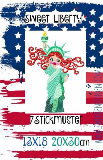 ♥SWEET LIBERTY♥ Stickmuster FREIHEITsSTATUE Amerika NYC 13x18 20x30cm