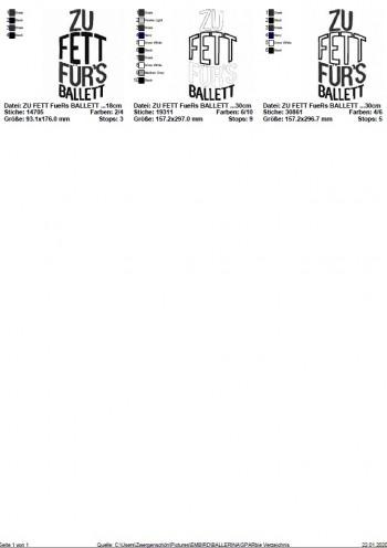 ♥zu FETT für`s BALLETT♥ Stickmuster 1€-SPARbie 13x18 18x30cm