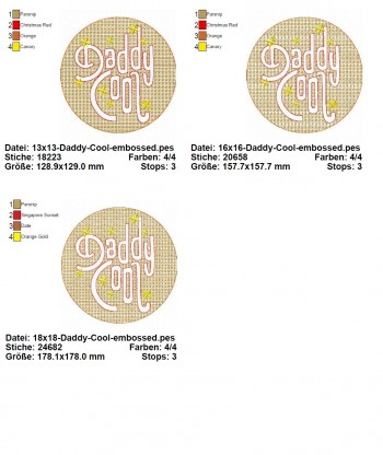 ♥DADDY COOL Embossed♥ 1€-SPARbie STICKMUSTER 13x13 16x16 18x18cm