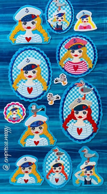 ♥SEAGULLY♥ Embroidery FILE-SET Artwork SAILOR Girl 10x10 13x18 20x20 20x26 20x30cm