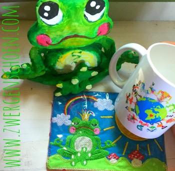 ♥MUG RUG♥ Embroidery File ITH Frogprince Arthur 13x18cm