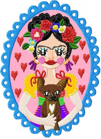 ♥VIVA los ANIMALES Wuff♥ STICKMUSTER Hund FLOWER girl