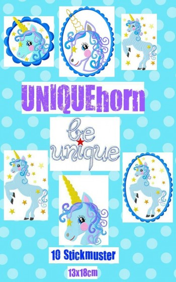 ♥UNIQUEhorn♥EINHORN Embroidery File-Set 13x18cm