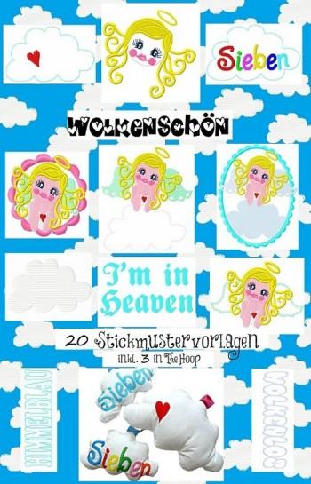 ♥WOLKENSCHOEN♥sweet ANGEL embroidery 13x18cm