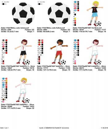 ♥FOOTBALLSTAR♥ Stickdatei FUßBALL 13x18cm 20x30cm