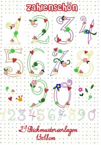 ♥ZAHLENSCHÖN♥ Stickdatei NUMMERN Zahlen 13x18cm FransenAPPLI