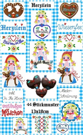 ♥HERZILEIN♥ Stickmuster 13x18cm inkl. INtheHOOP
