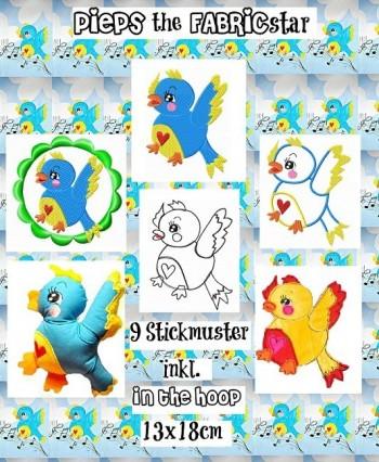 ♥PIEPS the FABRICstar♥ Stickmuster 13x18cm inkl. InTheHoop
