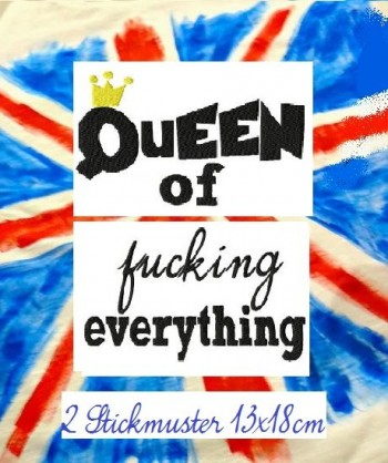 ♥QUEEN of fucking EVERYTHING♥ 1€-SPARbie EMBROIDERY file 13x18cm