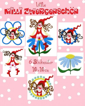 ♥little MILLI ZWERGENSCHoeN♥ Embroidery FILE 10x10cm DAISY