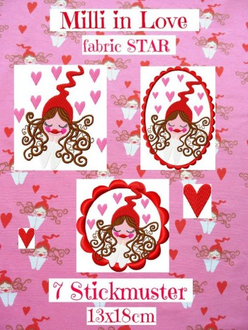 ♥MILLI in LOVE♥ the FABRIC Star STICKMUSTER 13x18cm