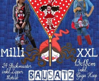 ♥MILLI XXL Bausatz♥ Stickmuster 13x18cm inkl. GIGA HOOP