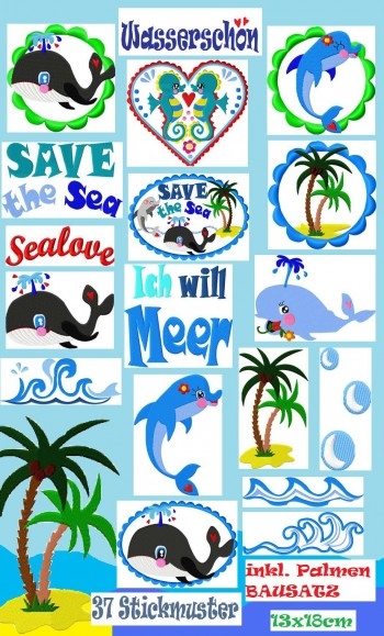 ♥WASSERSCHoeN♥ SAVE the SEA Embroidery-FILE Set 13x18cm 37embroideries