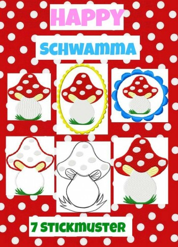 ♥Happy SCHWAMMA♥ Stickmuster FLIEGENPILZ 10x10 14x14 13x18cm