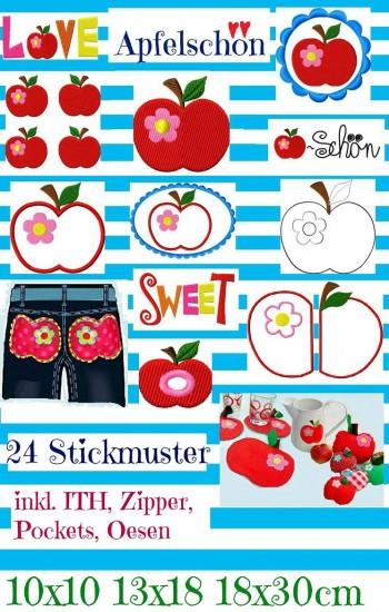 ♥APFELschoen♥ APPLE Embroidery-File SET 10x10, 13x18, 18x30cm