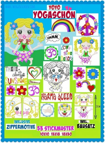 ♥YOYO YOGASCHoeN♥ Embroidery-File SET meditation SWEET OMMM