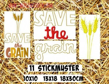 ♥SAVE the GRAIN♥ Embroidery File SET 10x10 13x18 18x30cm
