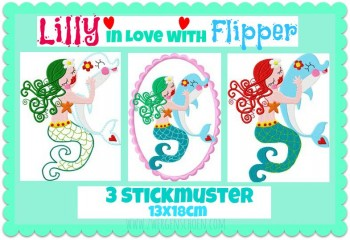 ♥LILLY in LOVE with FLIPPER♥ Stickdatei DELPHIN Nixe 13x18cm