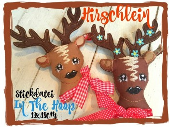 ♥HIRSCHLEIN♥ Stickmuster ITH Oh my DEER 13x18cm IN THE HOOP