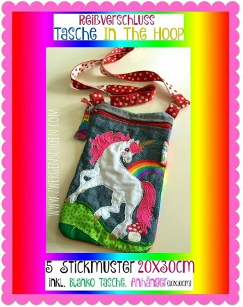 ♥UNICORN♥ Embroidery FILE 20x30cm ITH Special BAG with ZIPPER