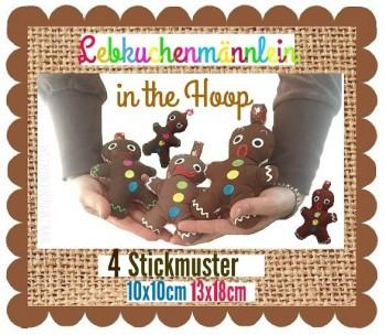 ♥LEBKUCHENMäNNLEIN♥ Stickmuster InTheHOOP 10x10 13x18cm