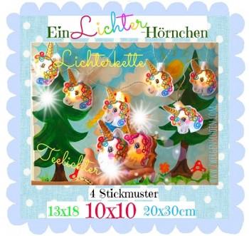 ♥Ein-LICHTER-Hörnchen♥ SET Stickdatei EINHORN Lichterkette+Teelicht ITH