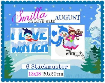 ♥SMILLA in LOVE with AUGUST♥ Embroidery FILE 13x18 20x20cm