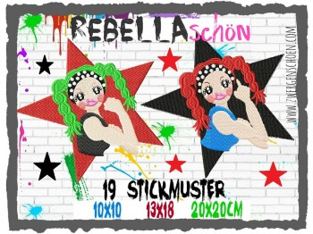 ♥REBELLAschön♥ Stickmuster GIRL POWER 10x10 13x18 20x20cm