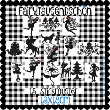♥FAIRYtausendSCHÖN♥ Stickdatei SILHOUETTEN Fairy SCHNITTCHEN 13x18cm